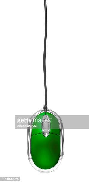 Green Pc Mouse on white background