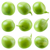 Green pea isolated on white. Collection.