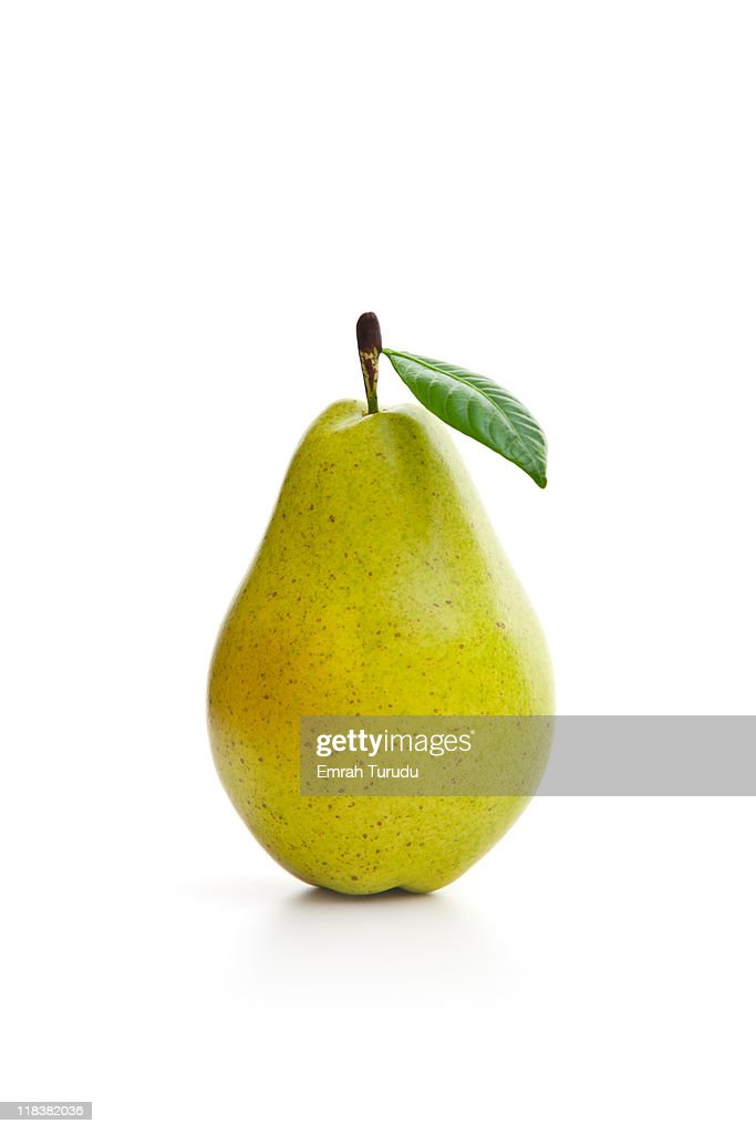 Green pear on the white background