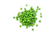 green peas on white background.