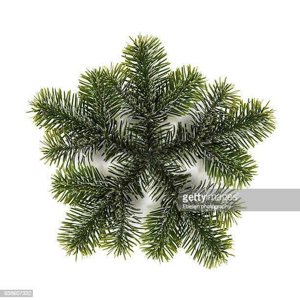 Green pine branch snowflake