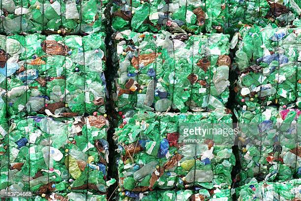 Green plastic bottles ready for recycling