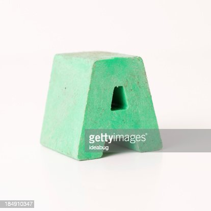 Green Plastic Capital Letter A on White Background