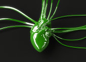 Green plastic heart