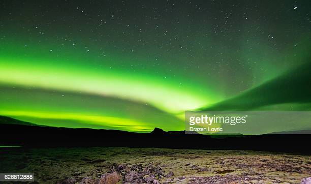 Green polar light - Aurora Borealis in Iceland