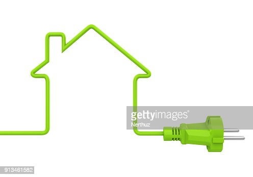 Green Power Plug House Shaped Isolated : Stock Photo