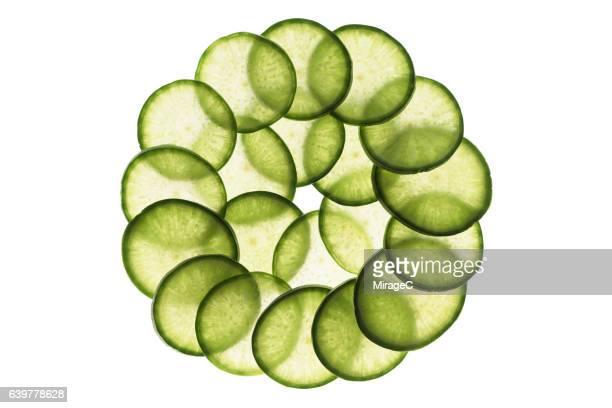 Green Radish Slices Circle Loop on White Background