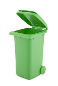 Green recycle bin isolated on white background with clipping path