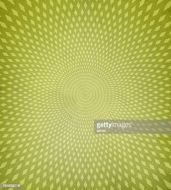 Green retro background with diamond spiral pattern
