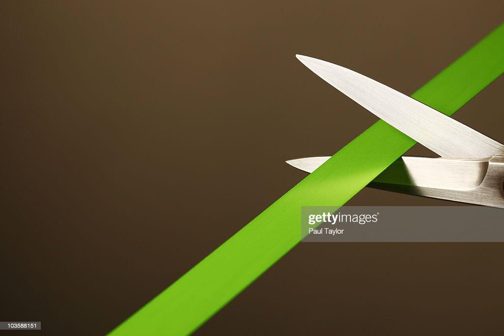 Green Ribbon-Cutting : Stock Photo