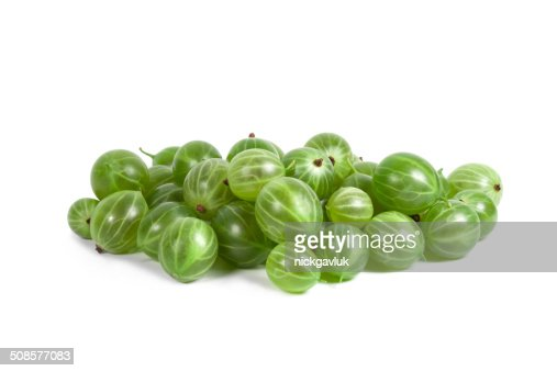 Green Ripe Gooseberries isolated on a white background : Stock Photo