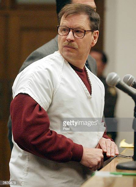 Green River Killer Gary Leon Ridgway cries as he reads a statement in a King County Washington Superior Court December 18 2003 in Seattle Ridgway...
