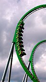 Green roller coaster loop.
