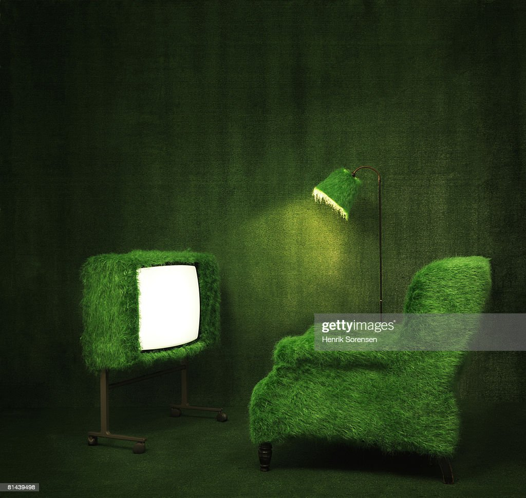 Green room with a turfed television. : Stock Photo