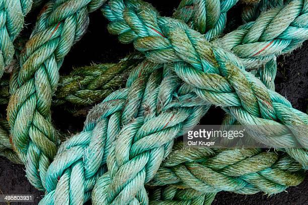 Green rope, Gasadalur, Vagar, Faroe Islands, Denmark
