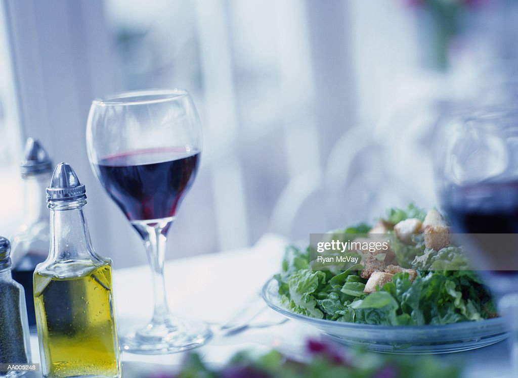 Green Salad and Wine : Stock Photo