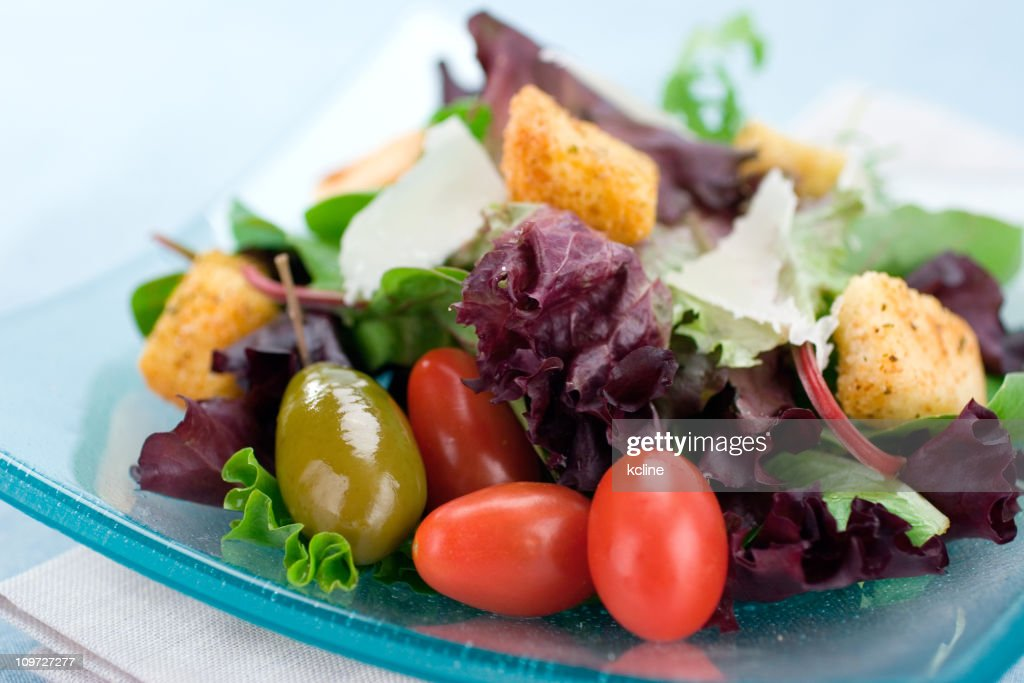 Green Salad with Tomatoes : Stock Photo