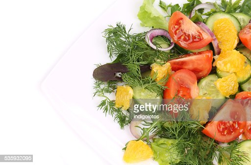 Green salad with tomatoes. : Stock Photo