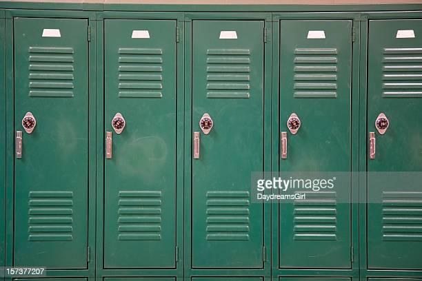 Green School Lockers with Combination Locks