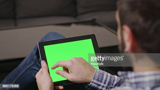Green Screen Digital Tablet PC Man : Stock Photo