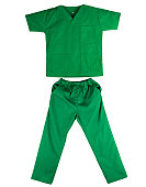 Green scrubs uniform isolated on white background. Green shirt and pants for veterinarian, doctor or nurse