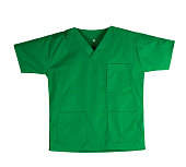 Green scrubs uniform isolated on white background with copy space. Green shirt and for veterinarian, doctor or nurse