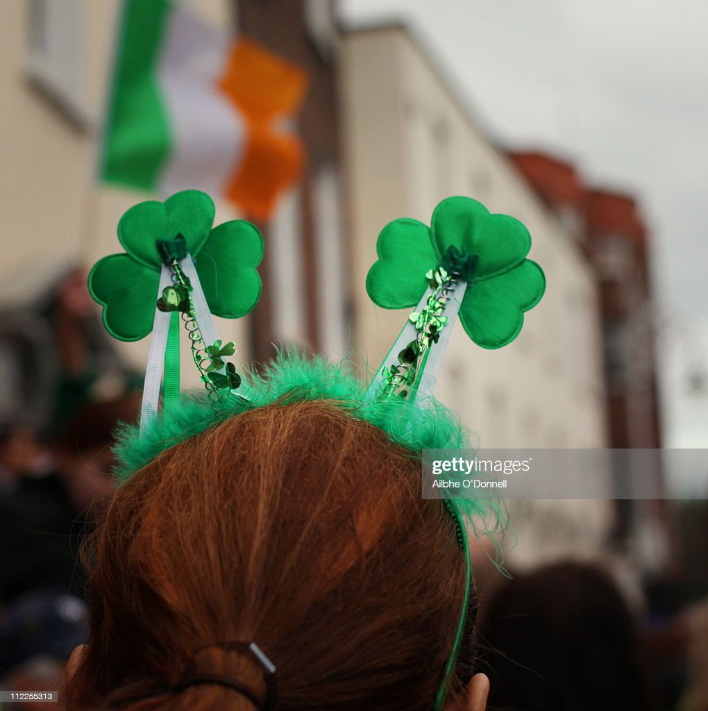Green shamrocks on Saint Patrick's Day