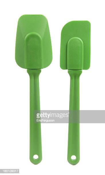 Silicone espátulas em branco verde