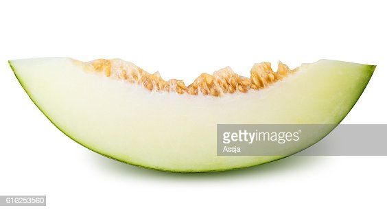 Green sliced melon isolated on white background : Foto de stock