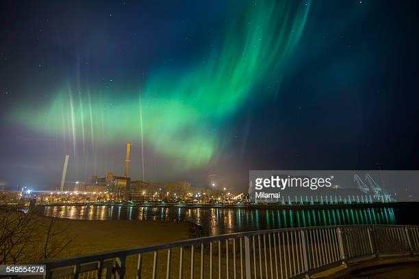 Green smoke, Aurora borealis, Helsinki