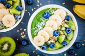 Green smoothie bowl with banana, kiwi, blueberry, granola and coconut