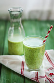 Green smoothie with kiwi, banana and spinach