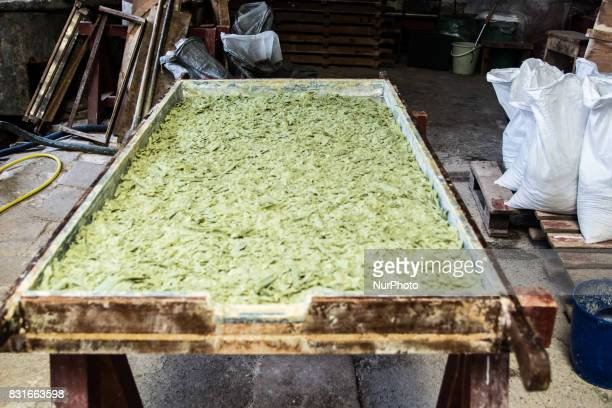 Green Soap Flakes Like green olive soap is made of olive pomace oil Corfu Greece on 15 August 2017 The historical soap factory of Patounis was build...