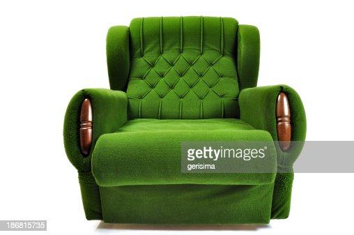 Verde sofá Aislado en blanco