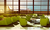 Luxurious green sofa on the airport lobby