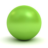 3d green sphere over white background with shadow.
