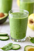 Healthy homemade green smoothie for body detox.