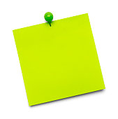 Green Paper Note with Copy Space and Tac Isolated on a White Background.