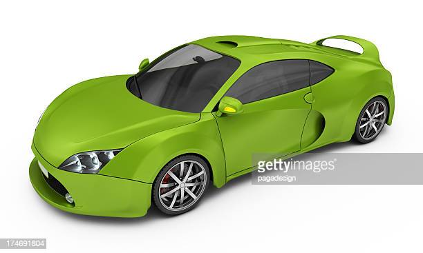 green supercar isolated