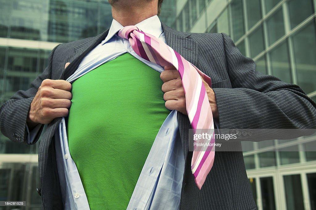 Green Superhero Businessman Leaves the Office
