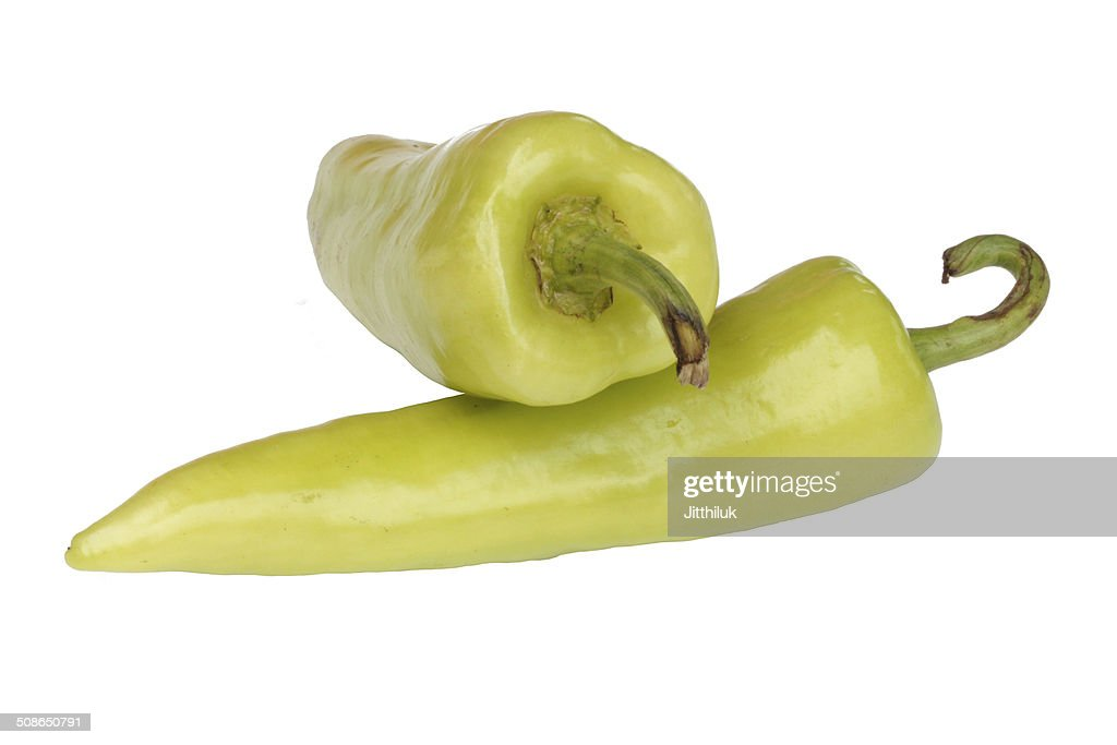 green sweet peppers on a white background : Stock Photo