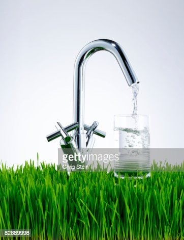 Green Tap Water : Stock Photo