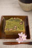Green tea and black bean pound cake with tea