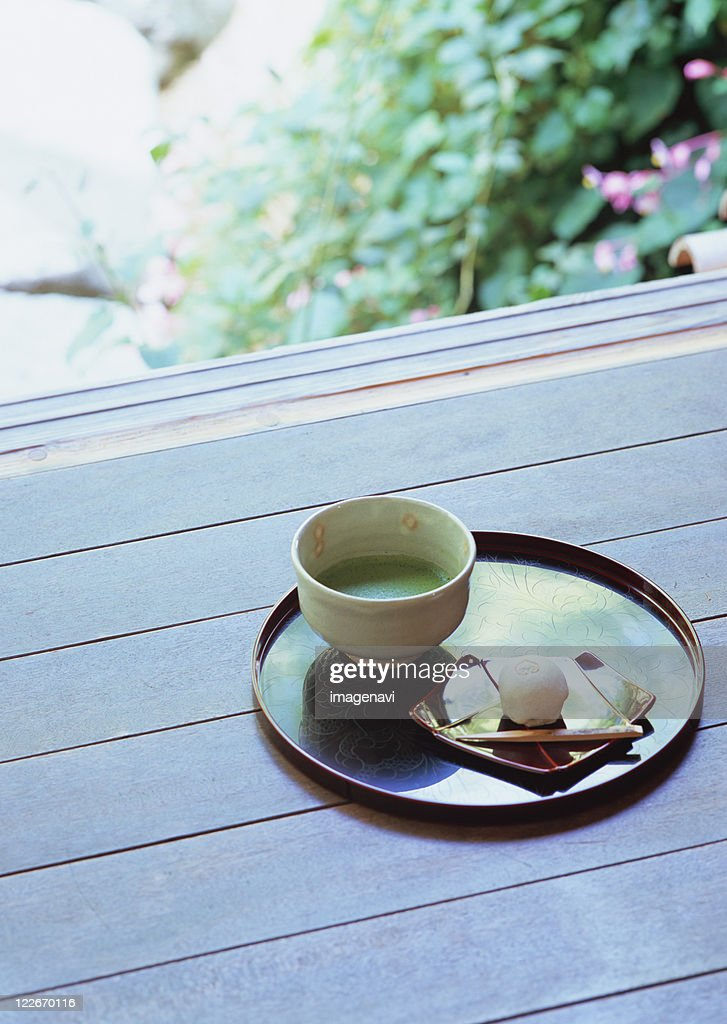Green tea and Japanese sweets : Stock Photo