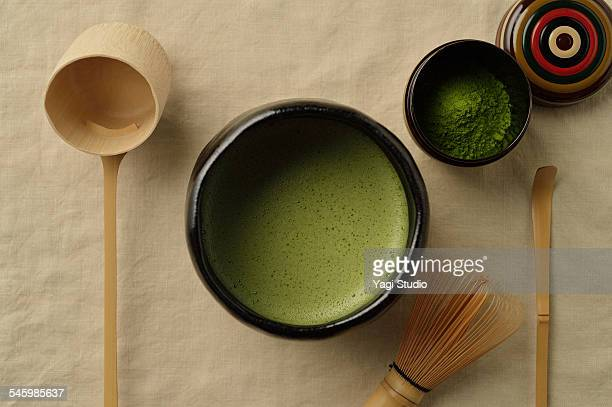 Green Tea and utensils for Japanese tea ceremony