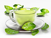 Green tea cup and fresh leaves isolated on white.