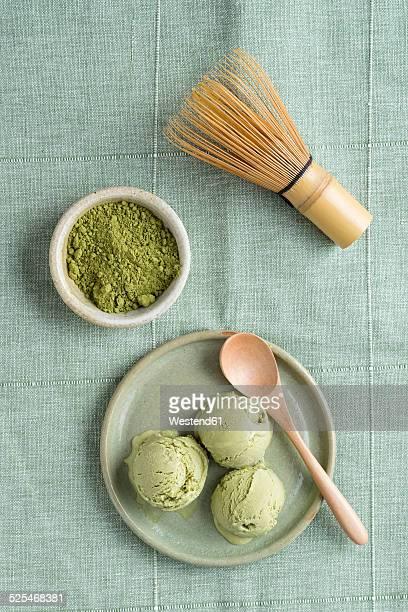 Green tea icecream and Chasen tea whisk