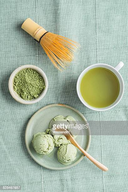 Green tea icecream, matcha tea and Chasen tea whisk