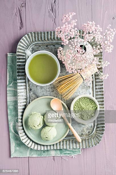 Green tea icecream, matcha tea, Chasen tea whisk and flower