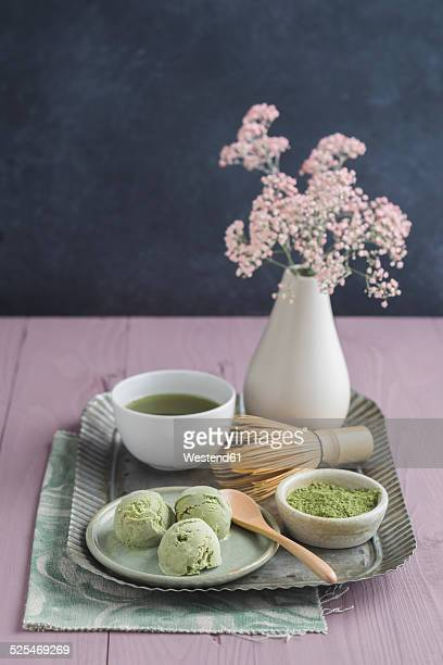 Green tea icecream, matcha tea, Chasen tea whisk and flower